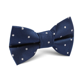 The OTAA Navy Blue with White Polka Dots Kids Bow Tie