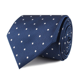 The OTAA Navy Blue with White Polka Dots Necktie