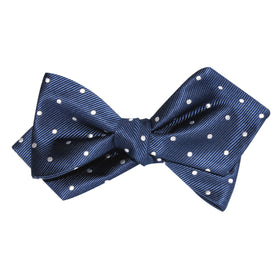 The OTAA Navy Blue with White Polka Dots Self Tie Diamond Tip Bow Tie