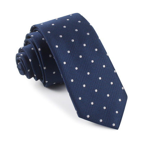 The OTAA Navy Blue with White Polka Dots Skinny Tie