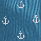 The OTAA Teal Blue Anchor Fabric Pocket Square M102