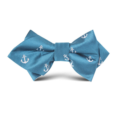 Teal Blue Anchor Kids Diamond Bow Tie