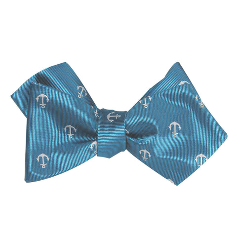 The OTAA Teal Blue Anchor Self Tie Diamond Tip Bow Tie