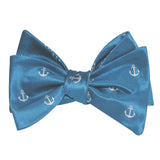The OTAA Teal Blue Anchor Self Tie Bow Tie 2