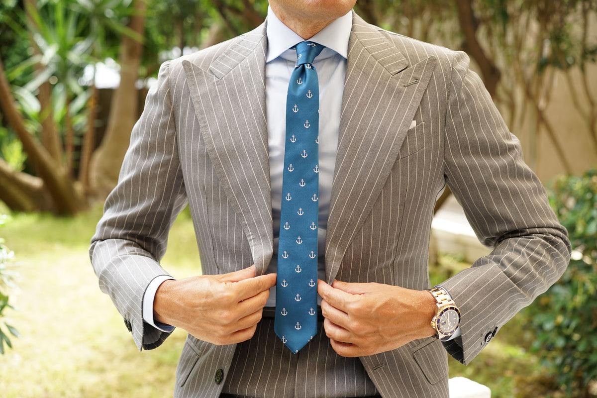 The OTAA Teal Blue Anchor Skinny Tie
