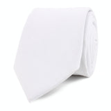 The OTAA White Cotton Skinny Tie Front Roll
