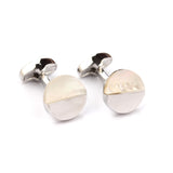 The Silver with White Marble Cufflinks Front OTAA