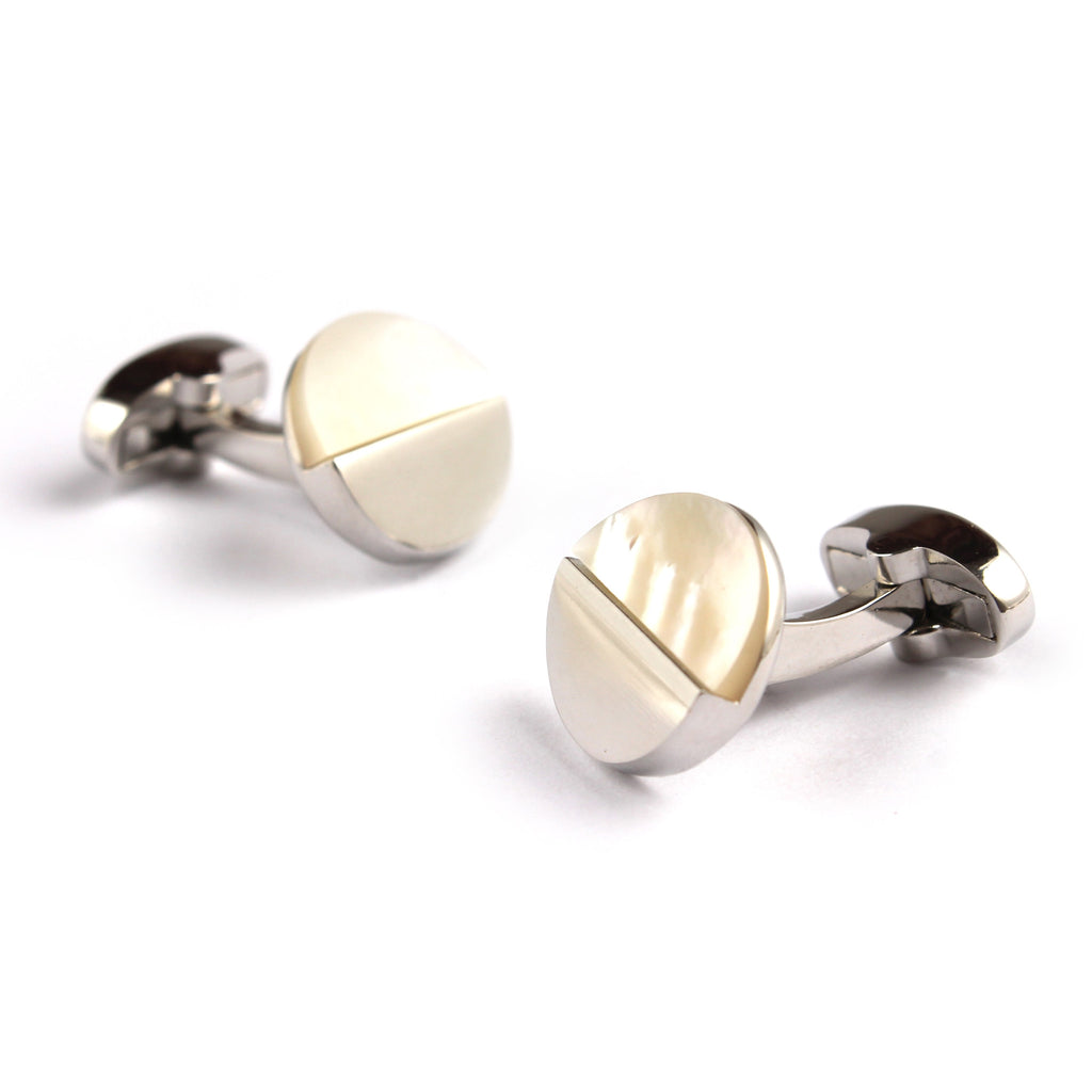 The Silver with White Marble Cufflinks