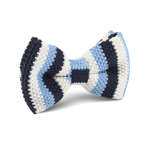 Three Shades of Blue Knitted Bow Tie