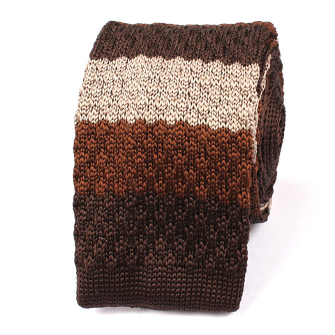 Three Shades of Brown Knitted Tie