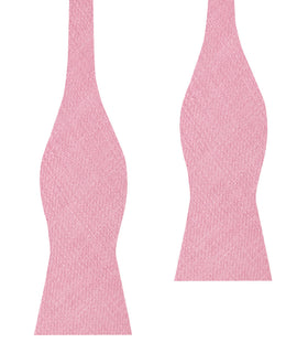 Tickled Pink Chevron Linen Self Bow Tie