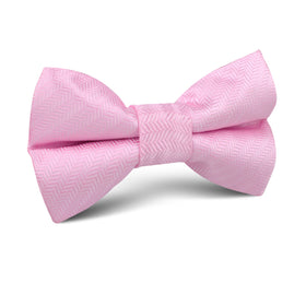 Tickled Pink Herringbone Chevron Kids Bow Tie