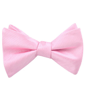 Tickled Pink Herringbone Chevron Self Bow Tie