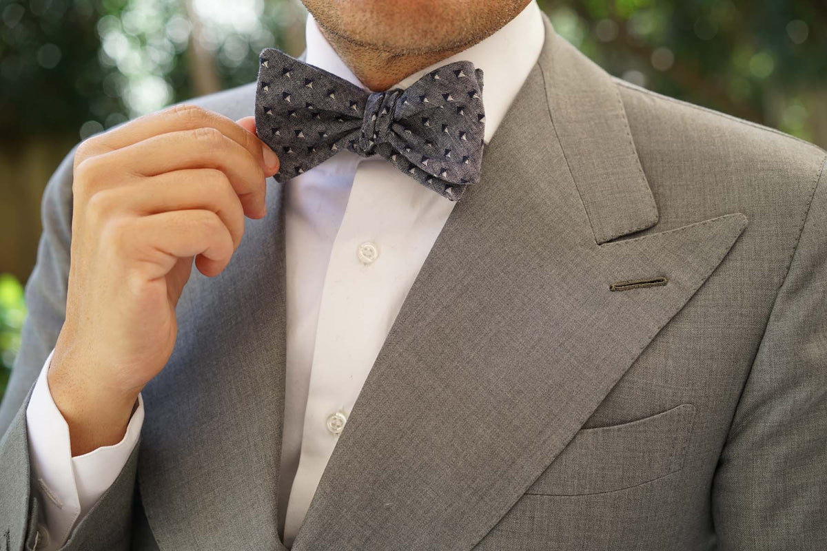 Totem Inception Navy Linen Self Bow Tie
