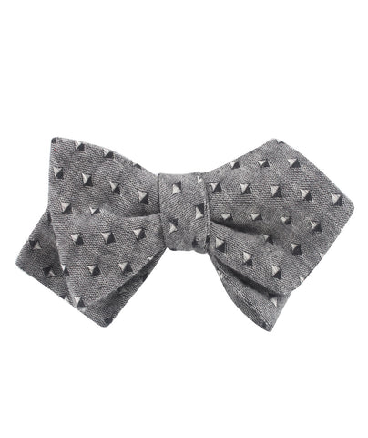 Totem Inception Black Linen Diamond Self Bow Tie