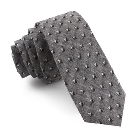 Totem Inception Black Linen Skinny Tie