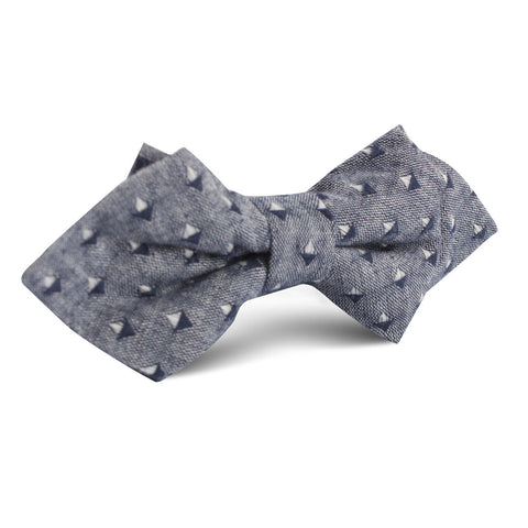 Totem Inception Navy Linen Diamond Bow Tie