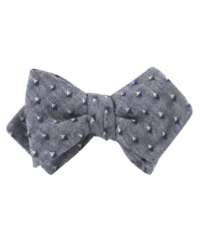 Totem Inception Navy Linen Diamond Self Bow Tie
