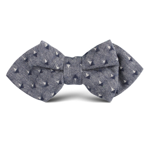 Totem Inception Navy Linen Kids Diamond Bow Tie