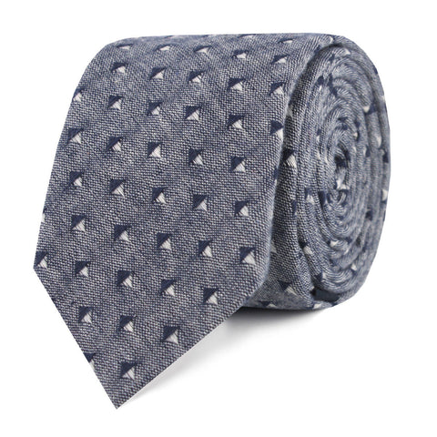 Totem Inception Navy Linen Skinny Tie