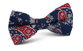 Trasimeno Blue with Red Paisley Bow Tie