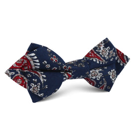 Trasimeno Blue with Red Paisley Diamond Bow Tie