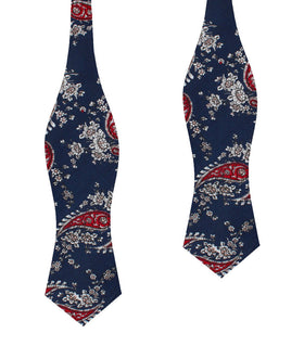 Trasimeno Blue with Red Paisley Diamond Self Bow Tie