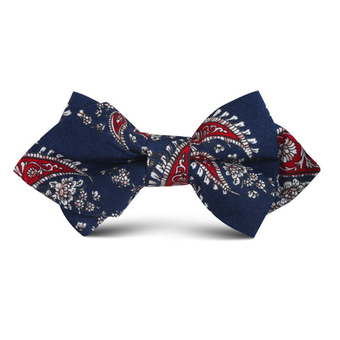 Trasimeno Blue with Red Paisley Kids Diamond Bow Tie