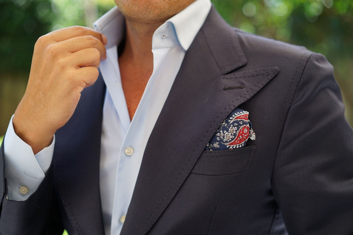 Trasimeno Blue with Red Paisley Pocket Square