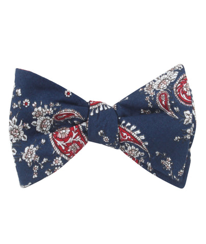 Trasimeno Blue with Red Paisley Self Bow Tie