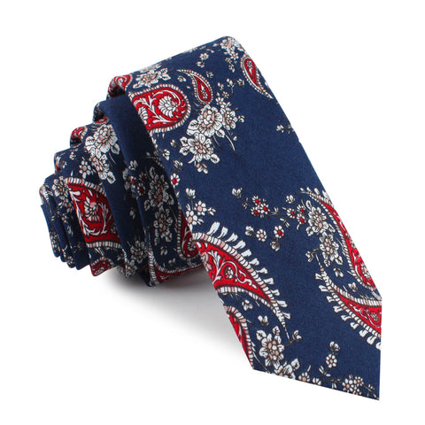 Trasimeno Blue with Red Paisley Skinny Tie
