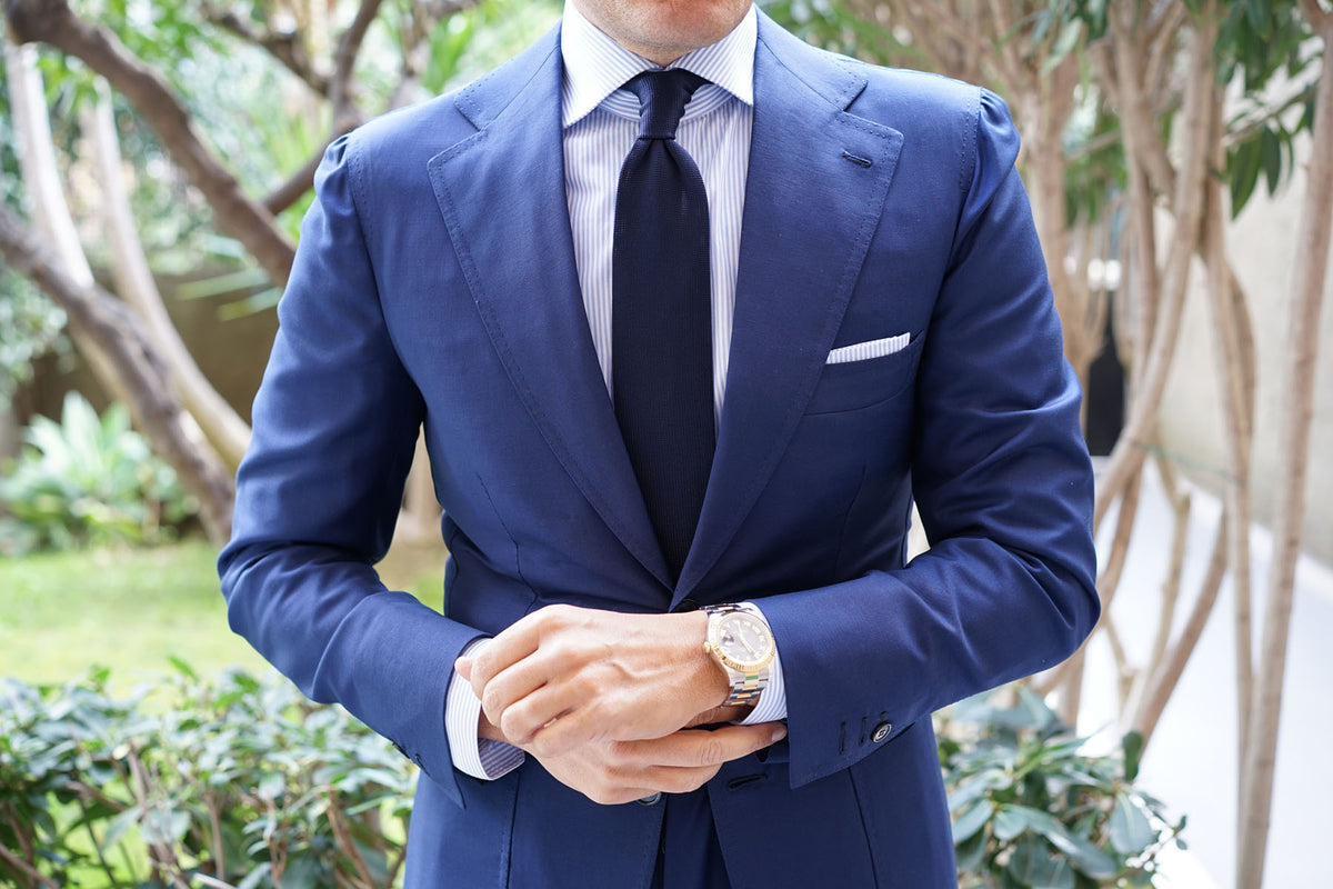 Tristful Navy Knitted Tie