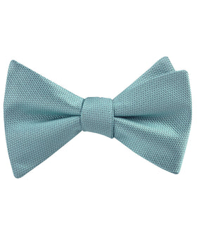 Turkish Teal Blue Weave Self Bow Tie