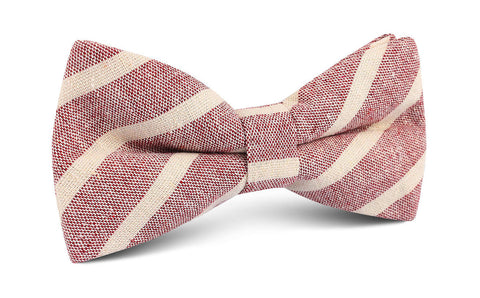 Turkish Delight Red Stripe Linen Bow Tie