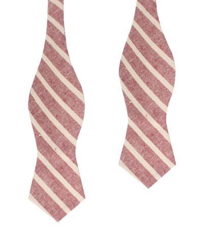 Turkish Delight Red Stripe Linen Diamond Self Bow Tie