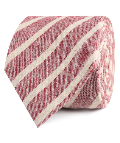 Turkish Delight Red Stripe Linen Tie