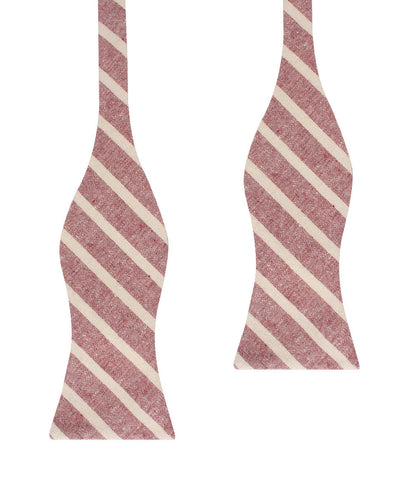 Turkish Delight Red Stripe Linen Self Bow Tie
