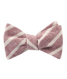 Turkish Delight Red Stripe Linen Self Tied Bowtie