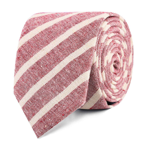 Turkish Delight Red Stripe Linen Skinny Tie