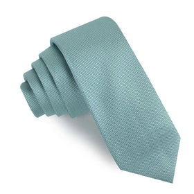 Turkish Teal Blue Weave Skinny Tie