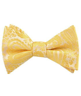 Tuscan Sun Yellow Paisley Self Bow Tie