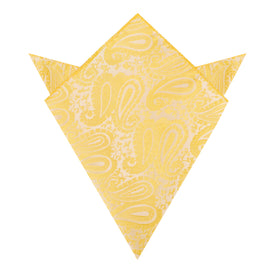 Tuscan Sun Yellow Paisley Pocket Square