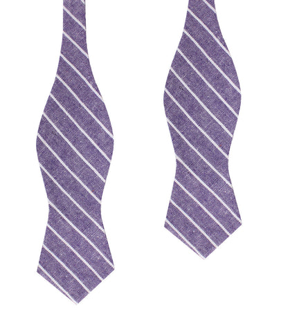 Tyrian Linen Purple Pinstripe Diamond Self Bow Tie