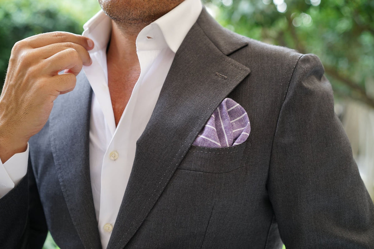 Tyrian Linen Purple Pinstripe Pocket Square