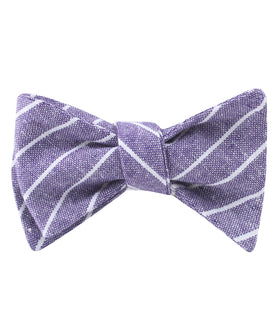 Tyrian Linen Purple Pinstripe Self Bow Tie