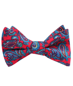 Valentina Red Shiraz Paisley Self Bow Tie