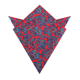 Valentina Red Shiraz Paisley Pocket Square