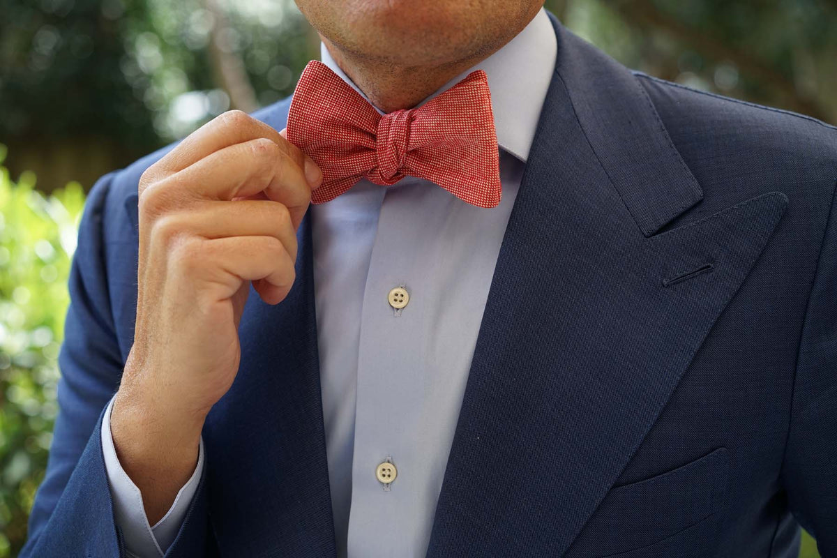 Venetian Red Linen Self Bow Tie