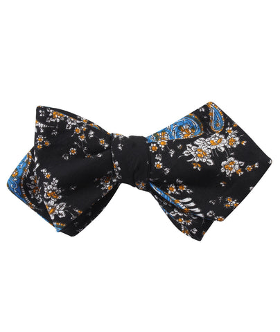 Venetian Lagoon Blue Paisley Diamond Self Bow Tie
