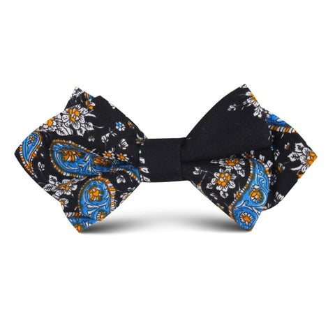 Venetian Lagoon Blue Paisley Kids Diamond Bow Tie